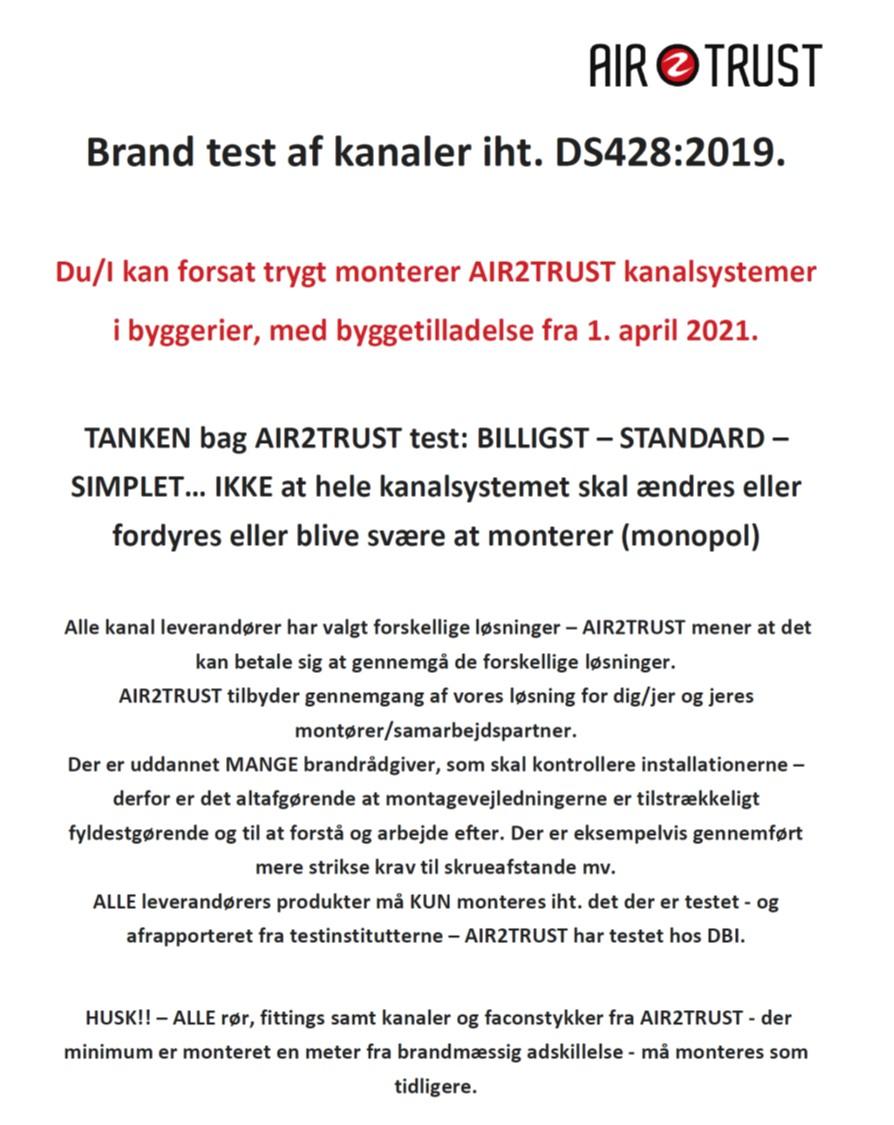 Brand test af kanaler iht. DS428:2019.